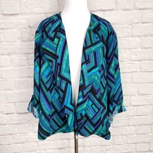 Chico's Blue Green Geometric Open Front Jacket